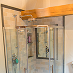 Walk-in shower with oak beam