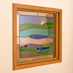 Bespoke stainded glass and oak feature window